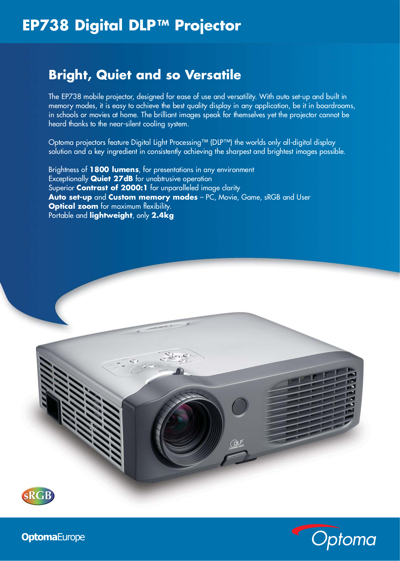 pdf for Optoma Projector EP738 manual