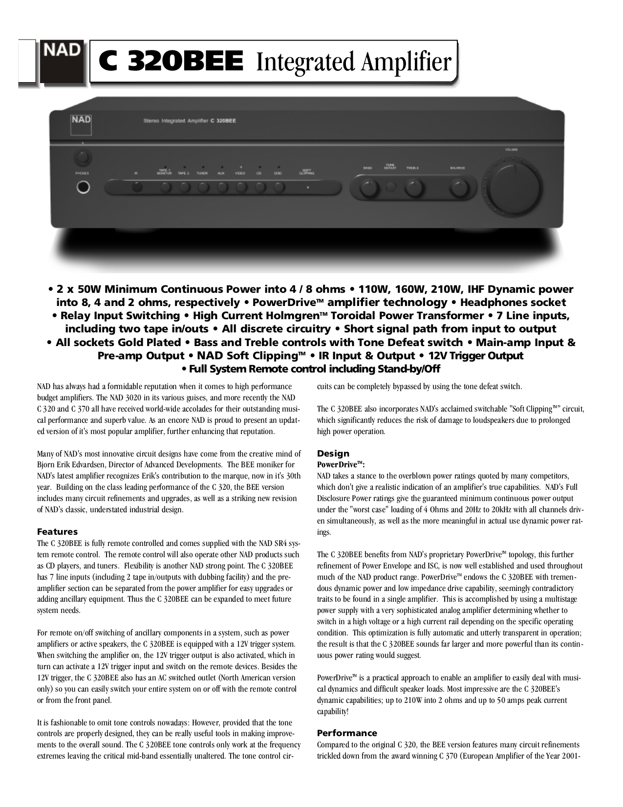 Download free pdf for NAD C320BEE Amp manual