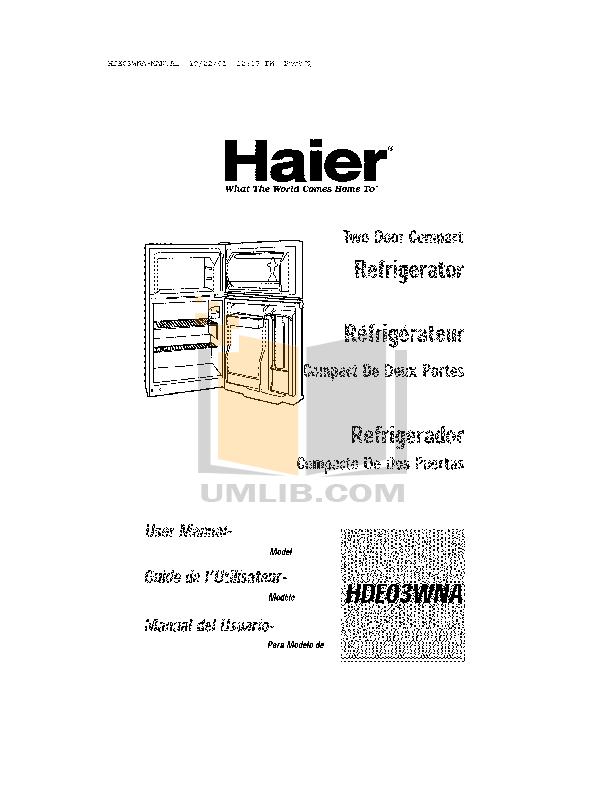 pdf for Haier Refrigerator HDE03WNA manual