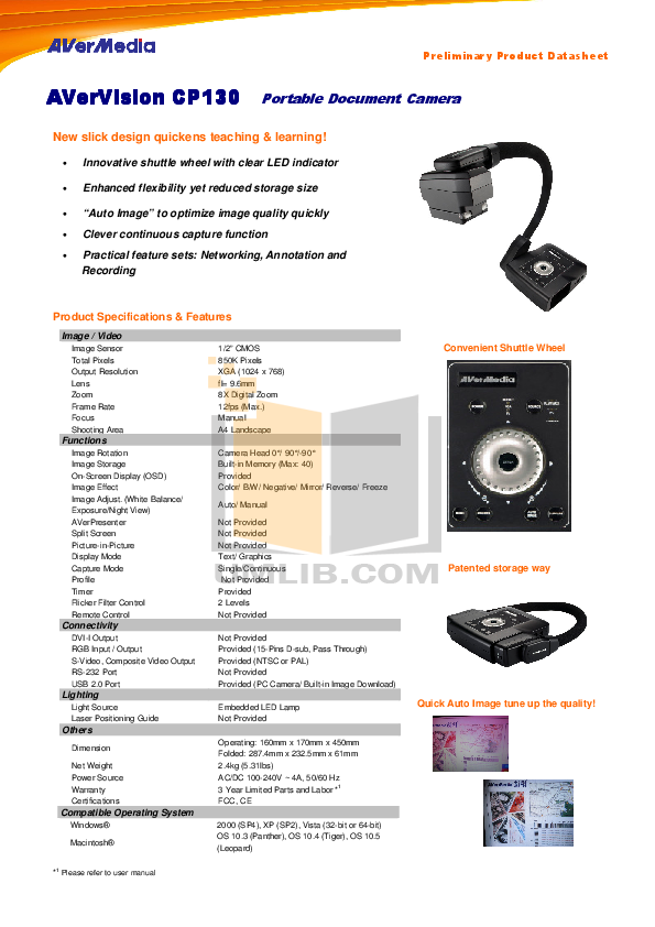 pdf for Avermedia Other AverVision 130 Projector-Accessory manual