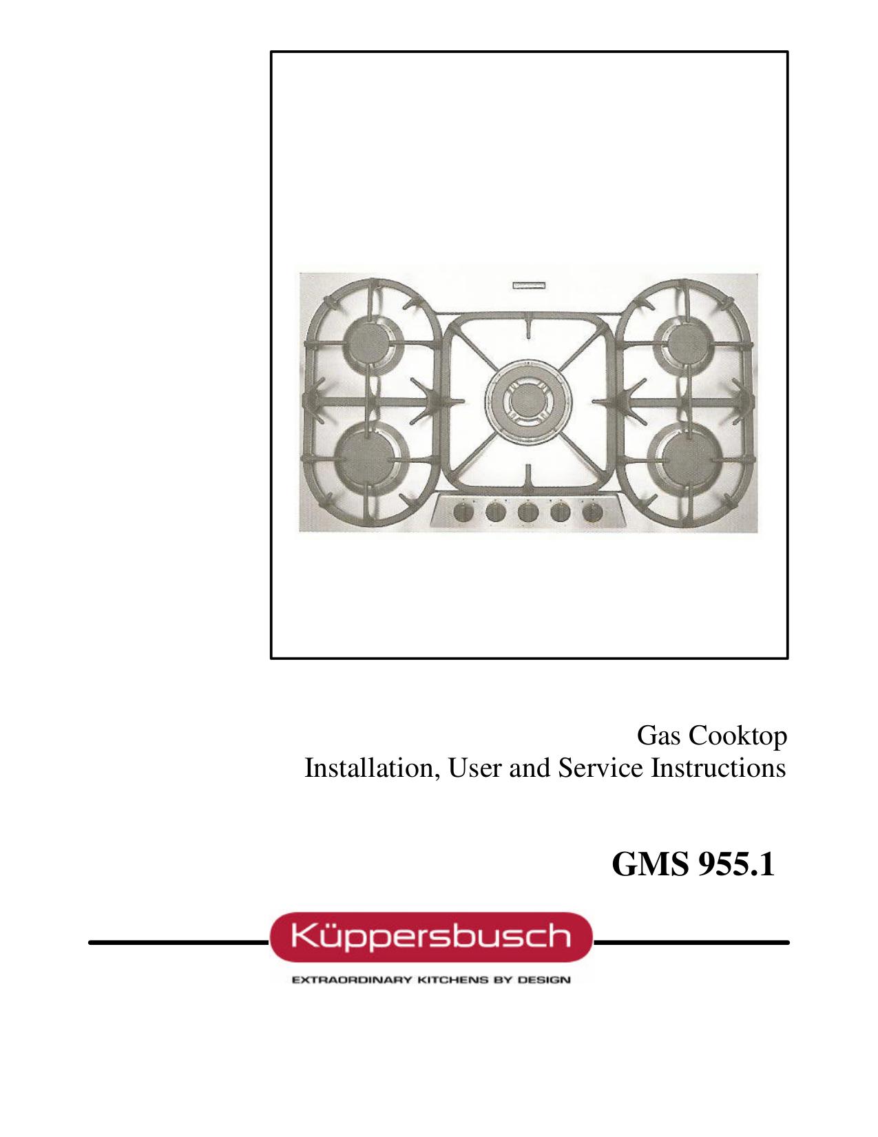 pdf for Kuppersbusch Range GMS955.1E manual