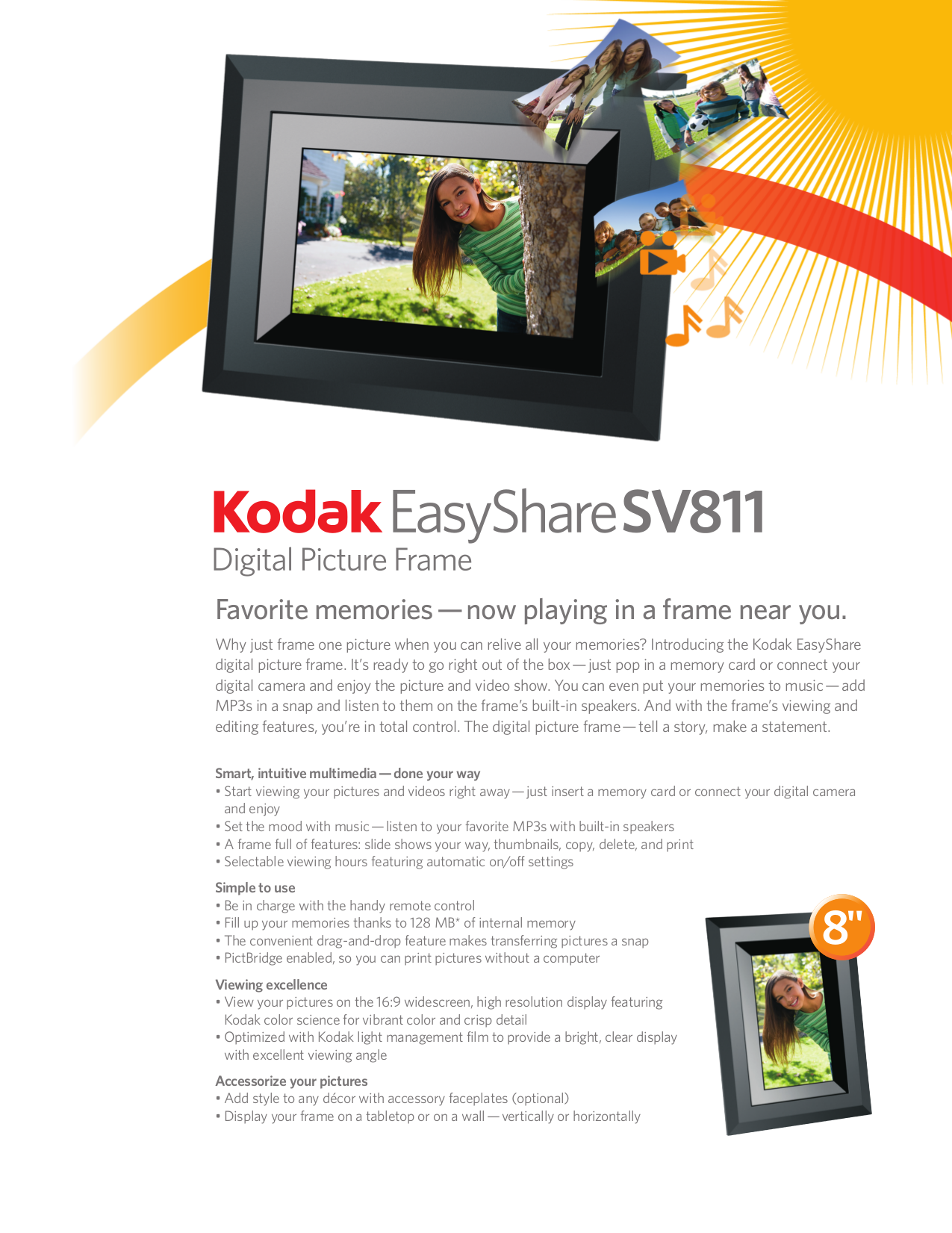 Download free pdf for Kodak EasyShare SV811 Digital Photo Frame manual