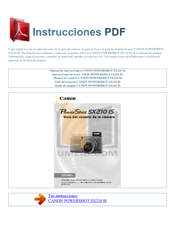 pdf for Canon Digital Camera Powershot SX210 IS manual