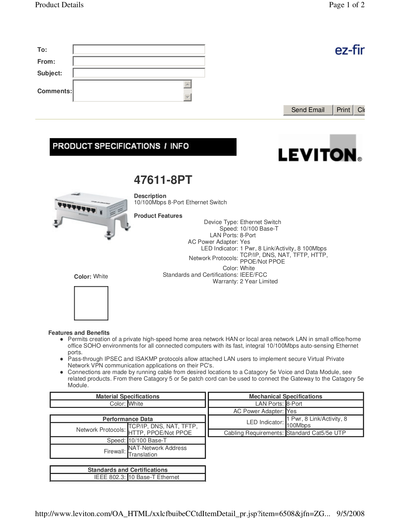 Download free pdf for Leviton 47611-8PT Switch manual
