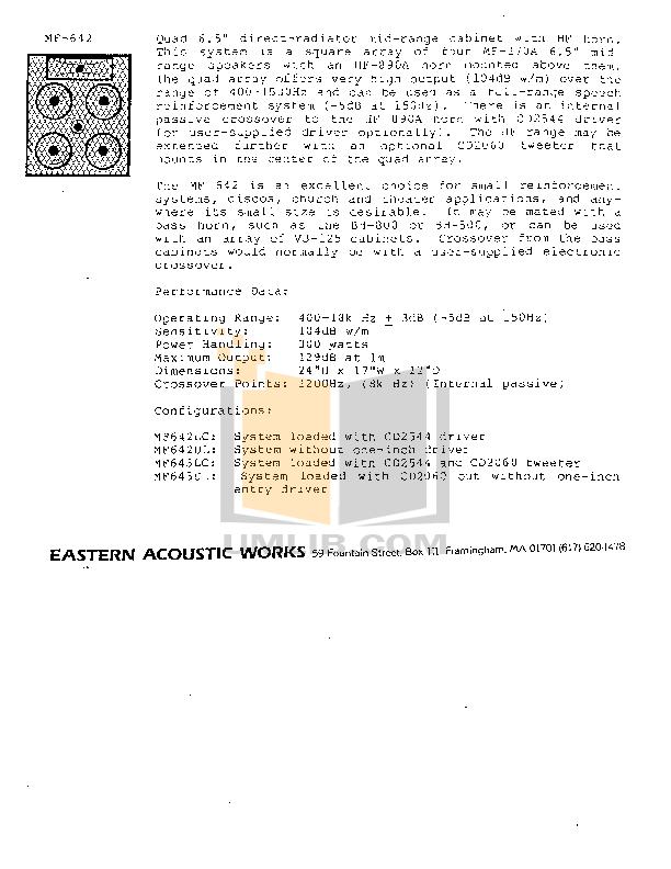 pdf for Eaw Speaker System MF642 manual