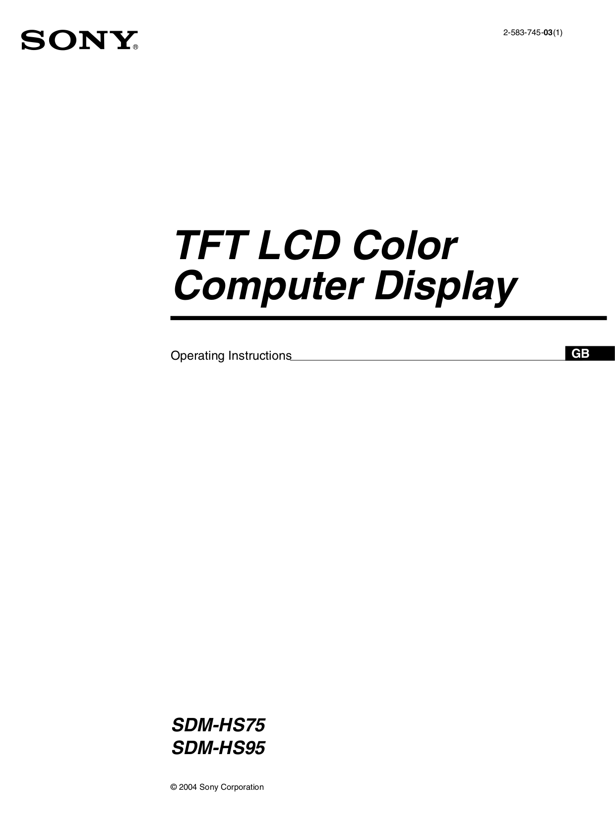 pdf for Sony Monitor SDM-HS75 manual