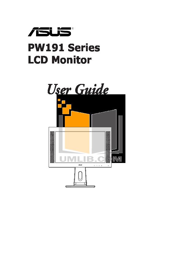 pdf for Asus Monitor PW191 manual