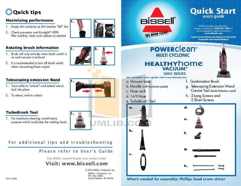 pdf for Bissell Vacuum 16N5 manual