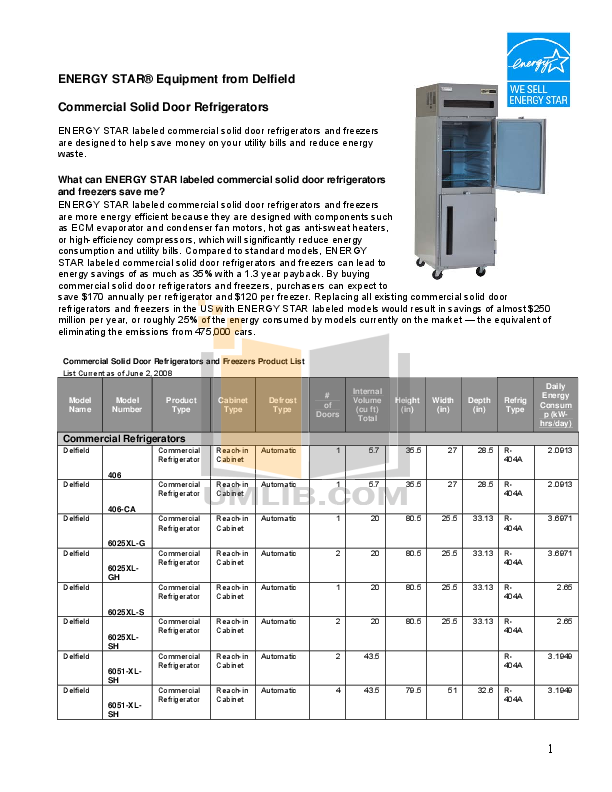 pdf for Delfield Refrigerator SCM-60 manual