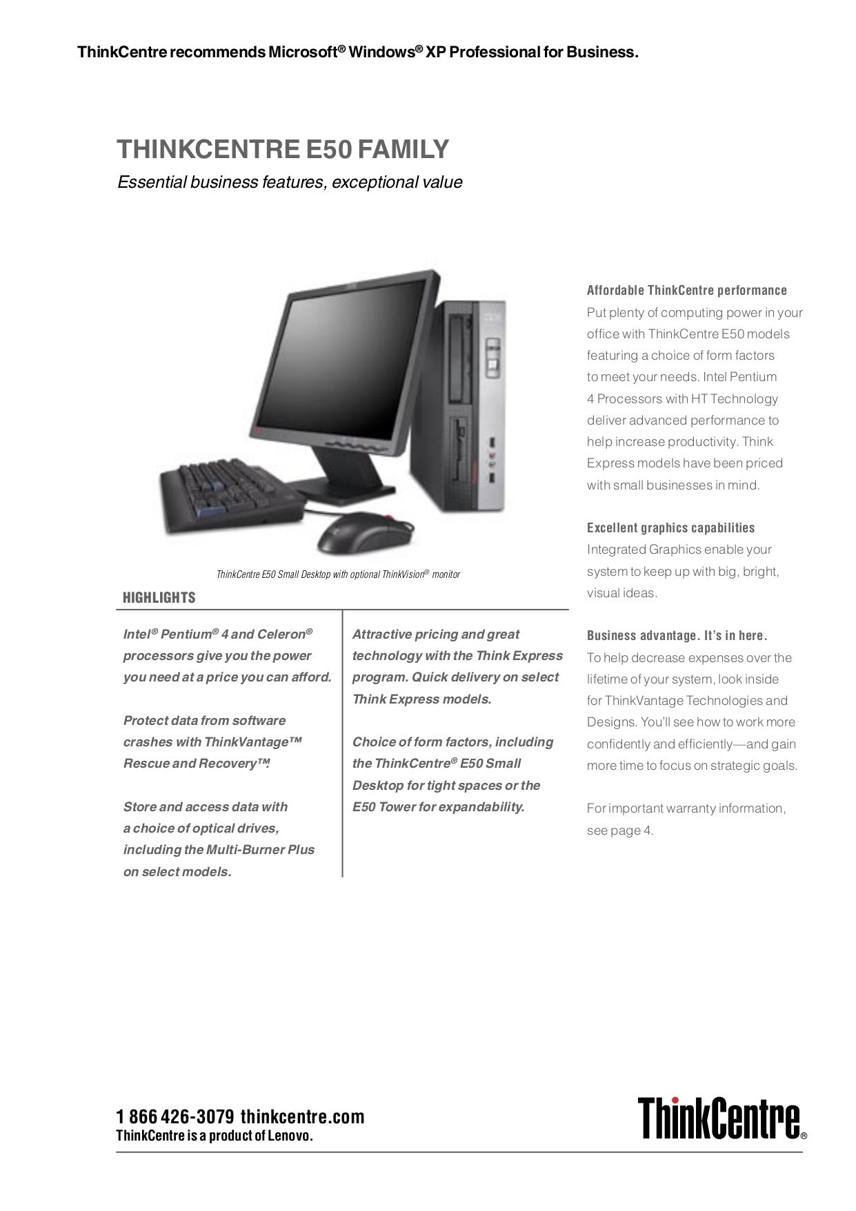 pdf for Lenovo Desktop ThinkCentre E50 8293 manual