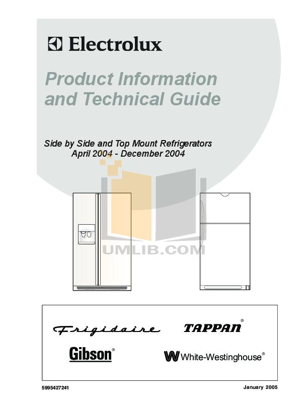 pdf for Frigidaire Refrigerator FRS26W2BSB7 manual