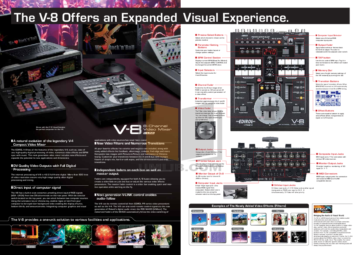 Roland pro a/v v-4ex | 4-channel digital video mixer with effects.