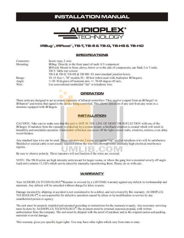 pdf for Audioplex Other TB-HS Emitters manual