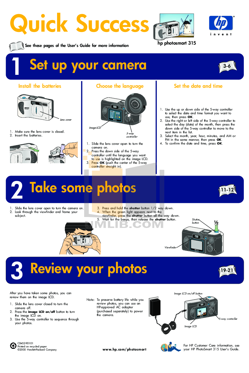 pdf for HP Digital Camera Photosmart 315 manual