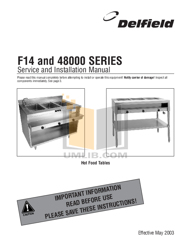 pdf for Delfield Other F14EI572 Hot Food Table manual