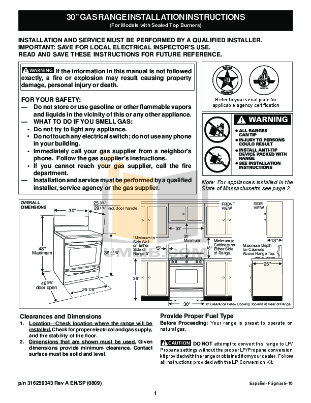 pdf for Frigidaire Range FFGF3047LS manual