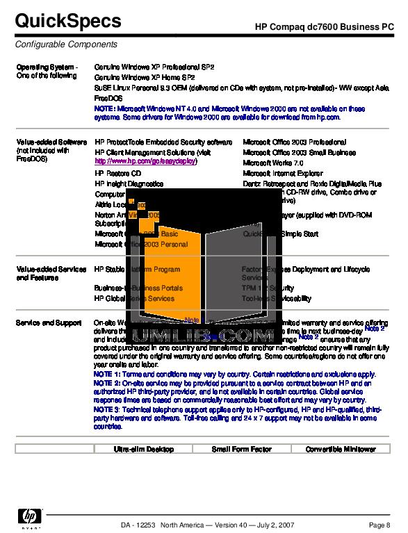 PDF manual for HP Desktop Compaq dc7600 SFF
