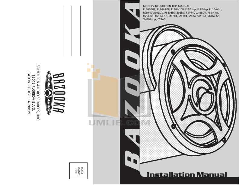 pdf for Bazooka Speaker SM10A manual