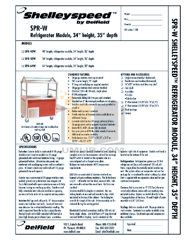 pdf for Delfield Refrigerator Shelleyspeed SPR-40W manual