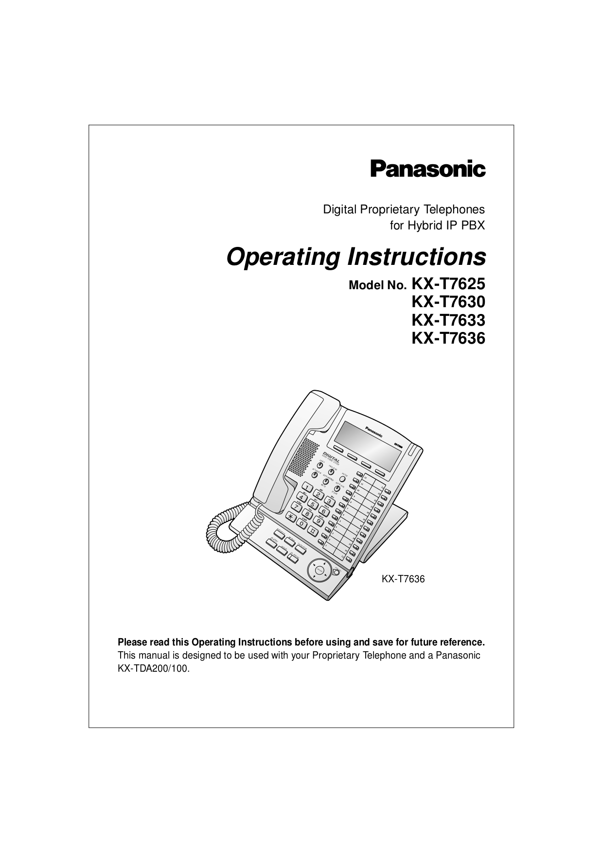 pdf for Panasonic Telephone KX-T7630 manual