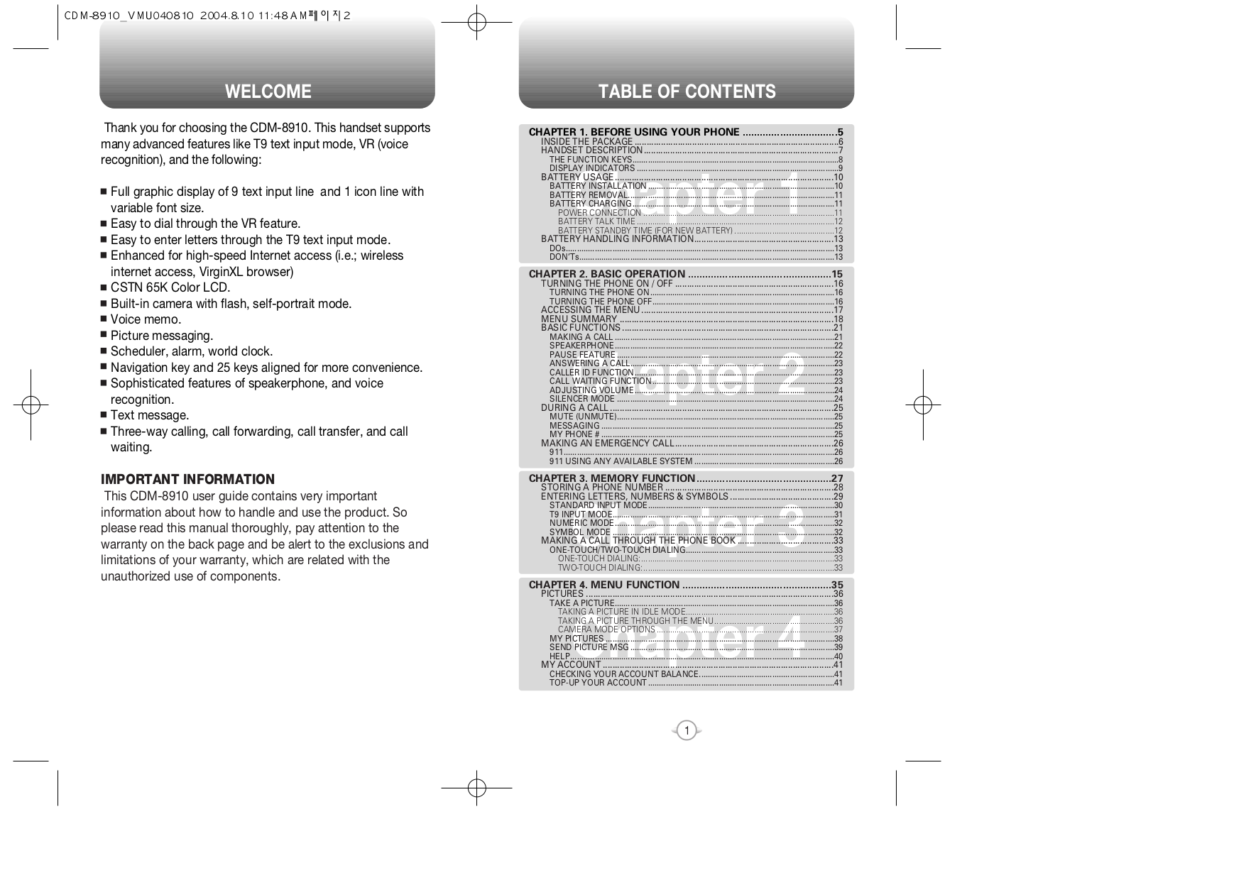 Utstar Cell Phone CDM8910 pdf page preview