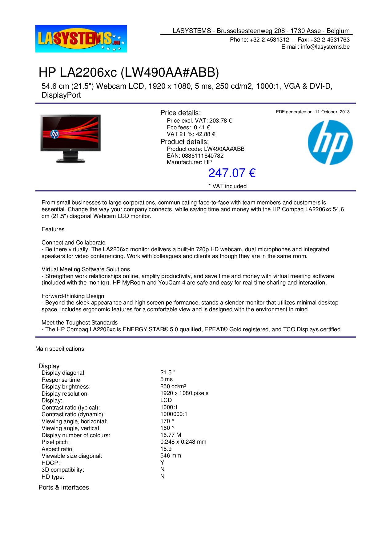 hp compaq la2205wg manual pdf