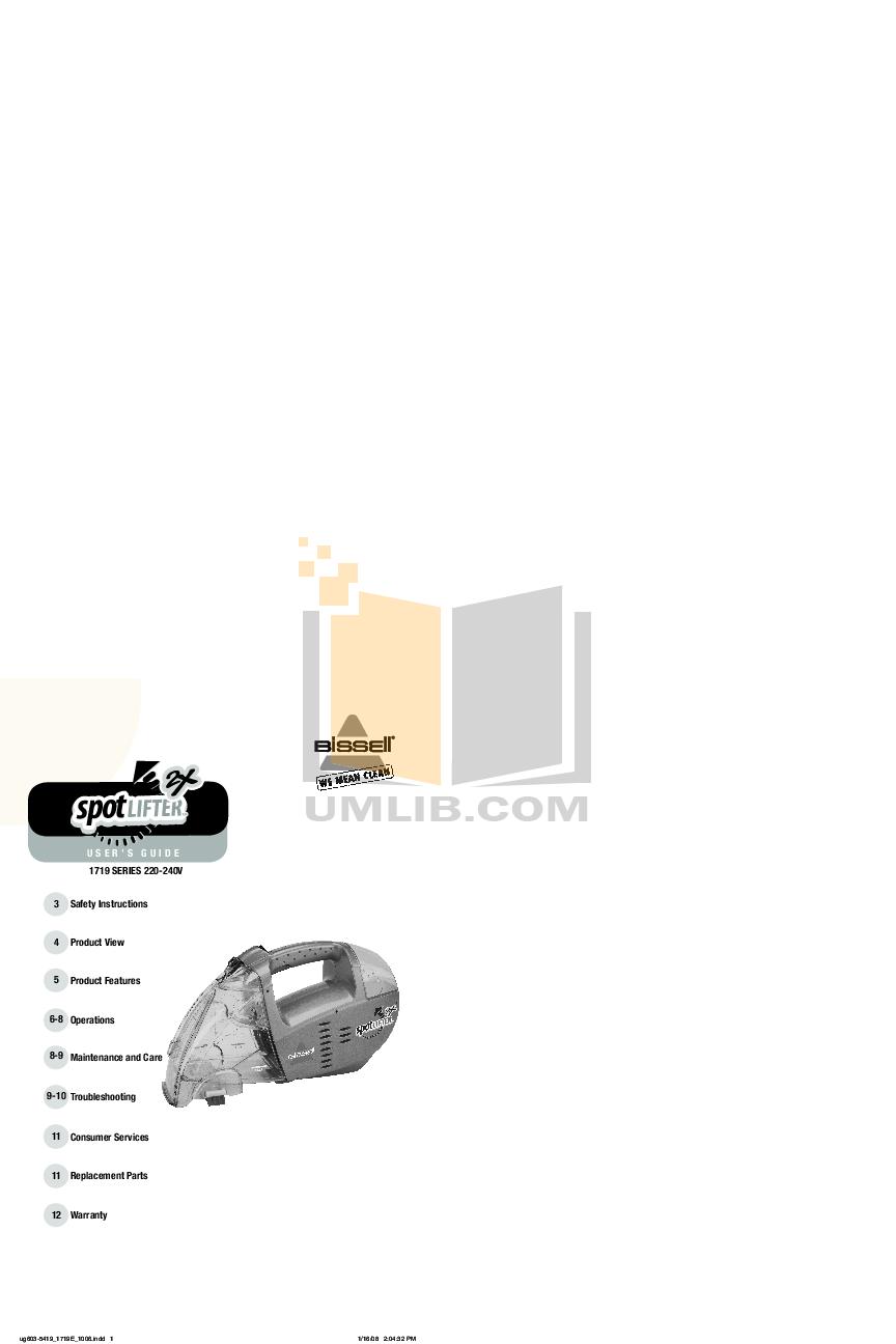 pdf for Bissell Vacuum 1719 manual