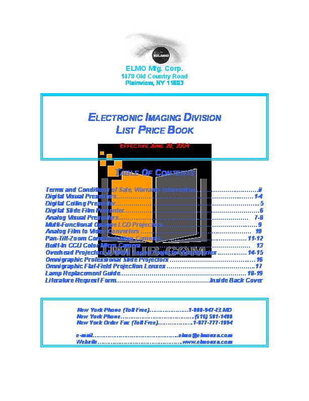 pdf for Elmo Security Camera PTC-110R manual