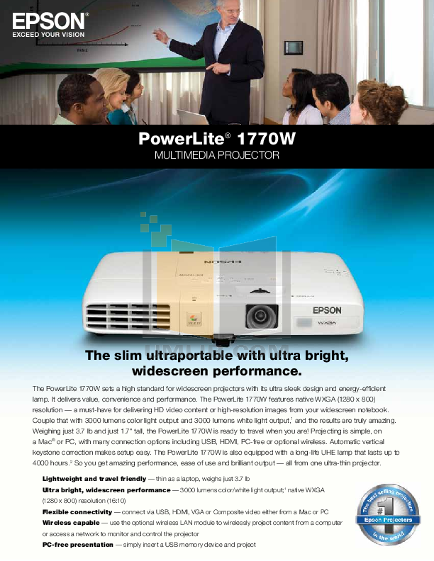 pdf for Epson Projector PowerLite 1770W manual