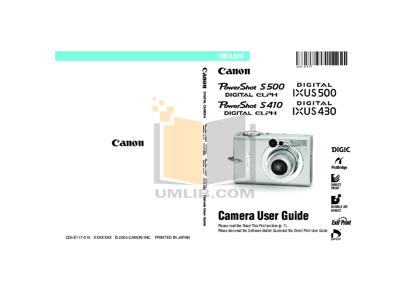 pdf for Canon Digital Camera Powershot S410 manual