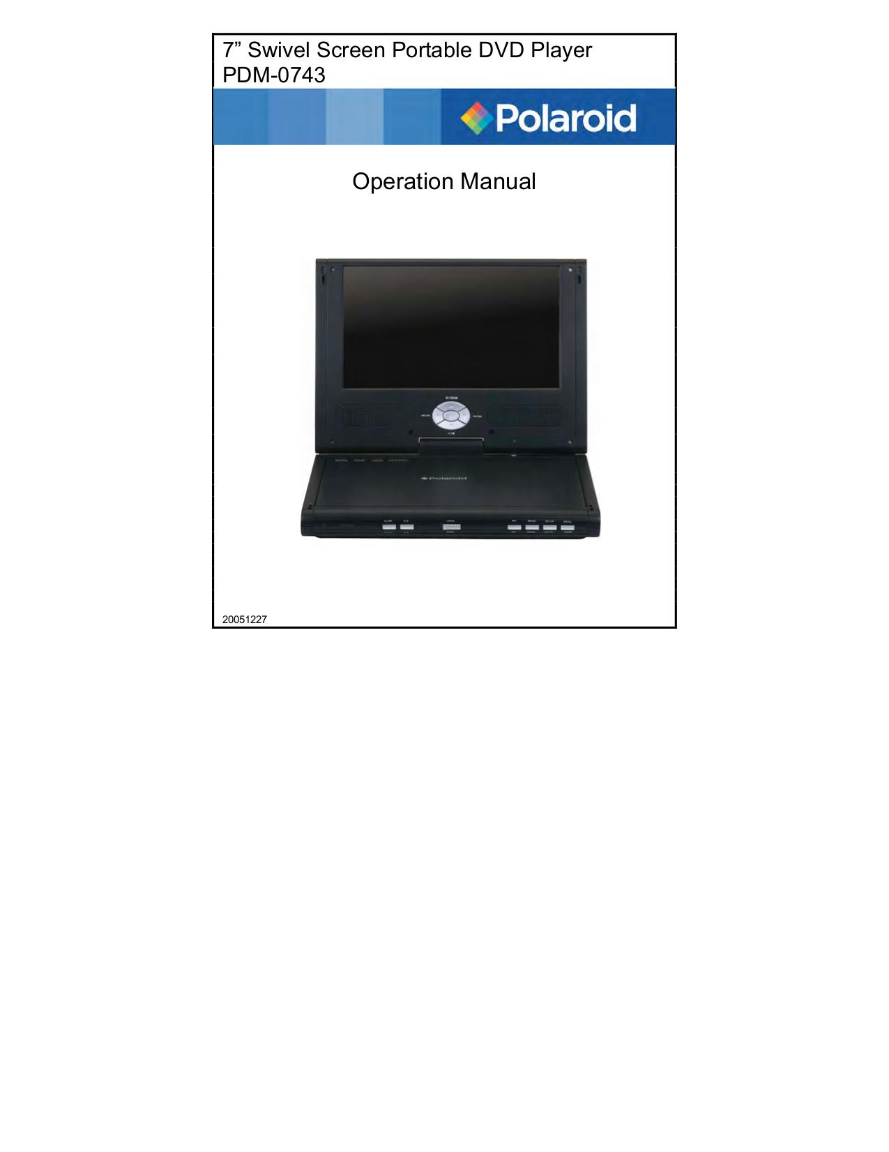 download free pdf for polaroid pdm 0743 portable dvd player manual rh umlib com Polaroid Portable DVD Player Amazon Polaroid Portable DVD Player PDM-0711 Lens