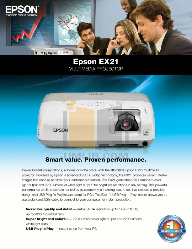 pdf for Epson Projector EX21 manual