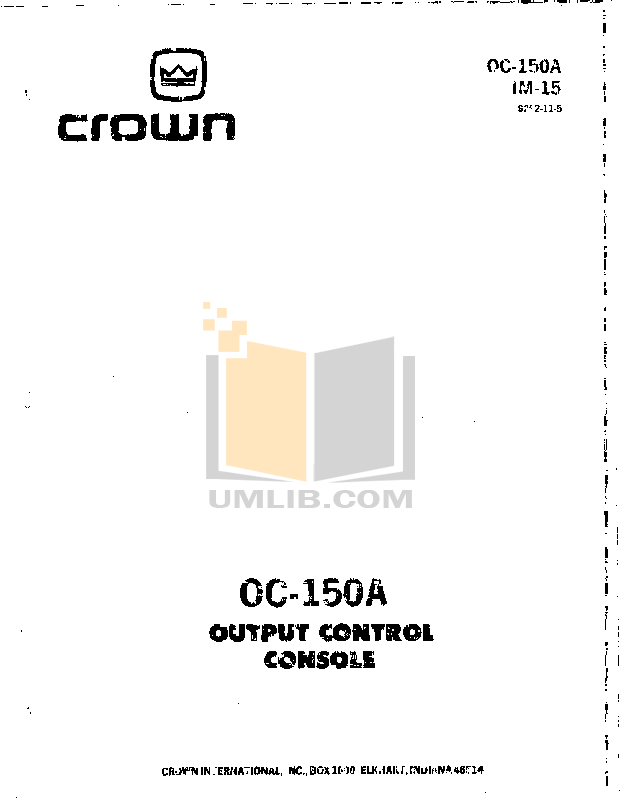 pdf for Crown Other OC-150A Output Controller manual