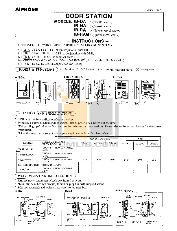 pdf for Aiphone Other TS-6K Intercoms manual