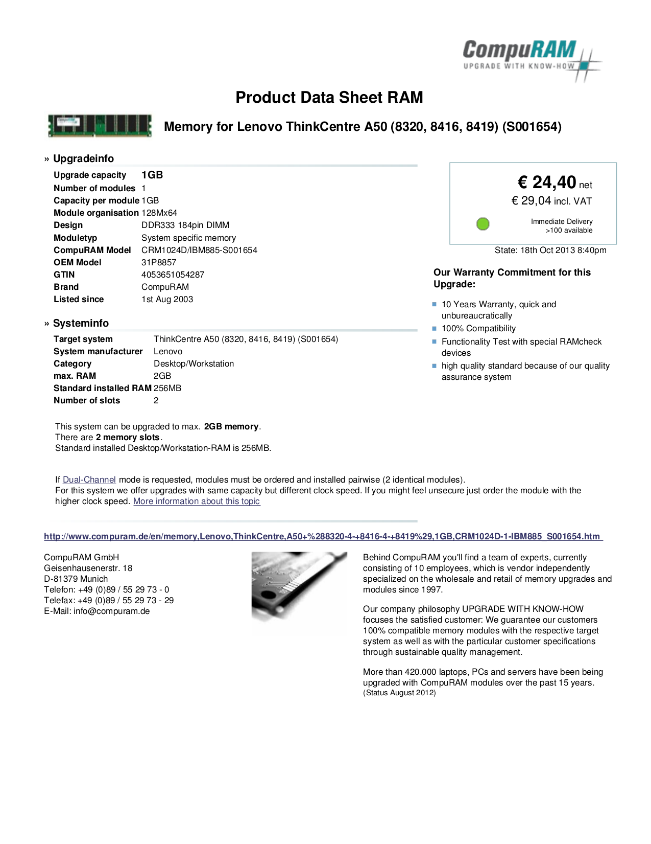 pdf for Lenovo Desktop ThinkCentre A50 8419 manual