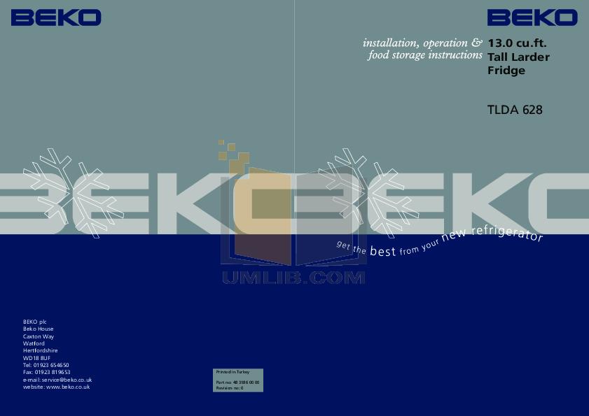 pdf for Beko Freezer TLDA628 manual