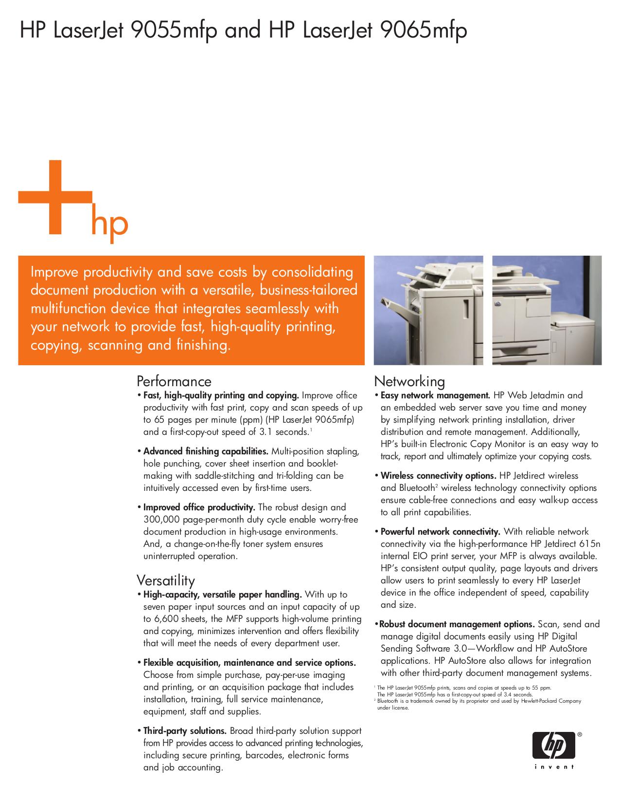 pdf for HP Multifunction Printer Laserjet,Color Laserjet 9055 MFP manual