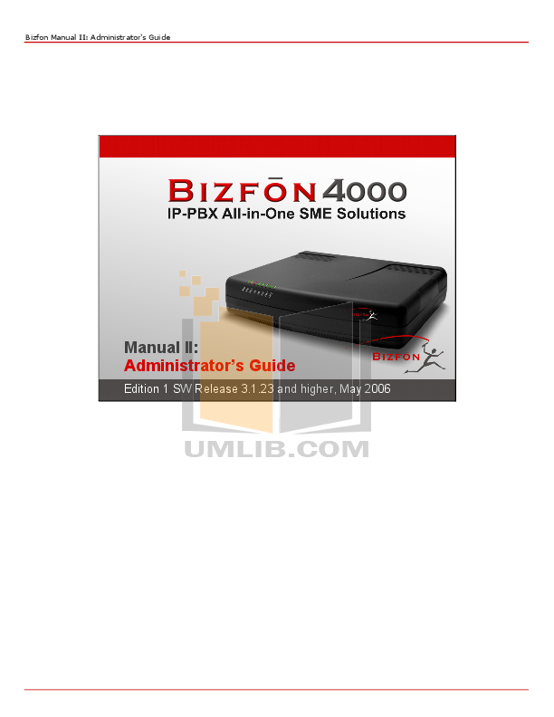 pdf for Bizfon PBX 4000 manual
