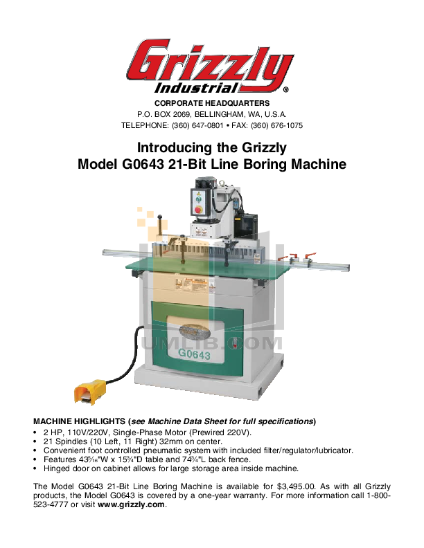Download free pdf for Grizzly G0643 Boring Machines Other manual
