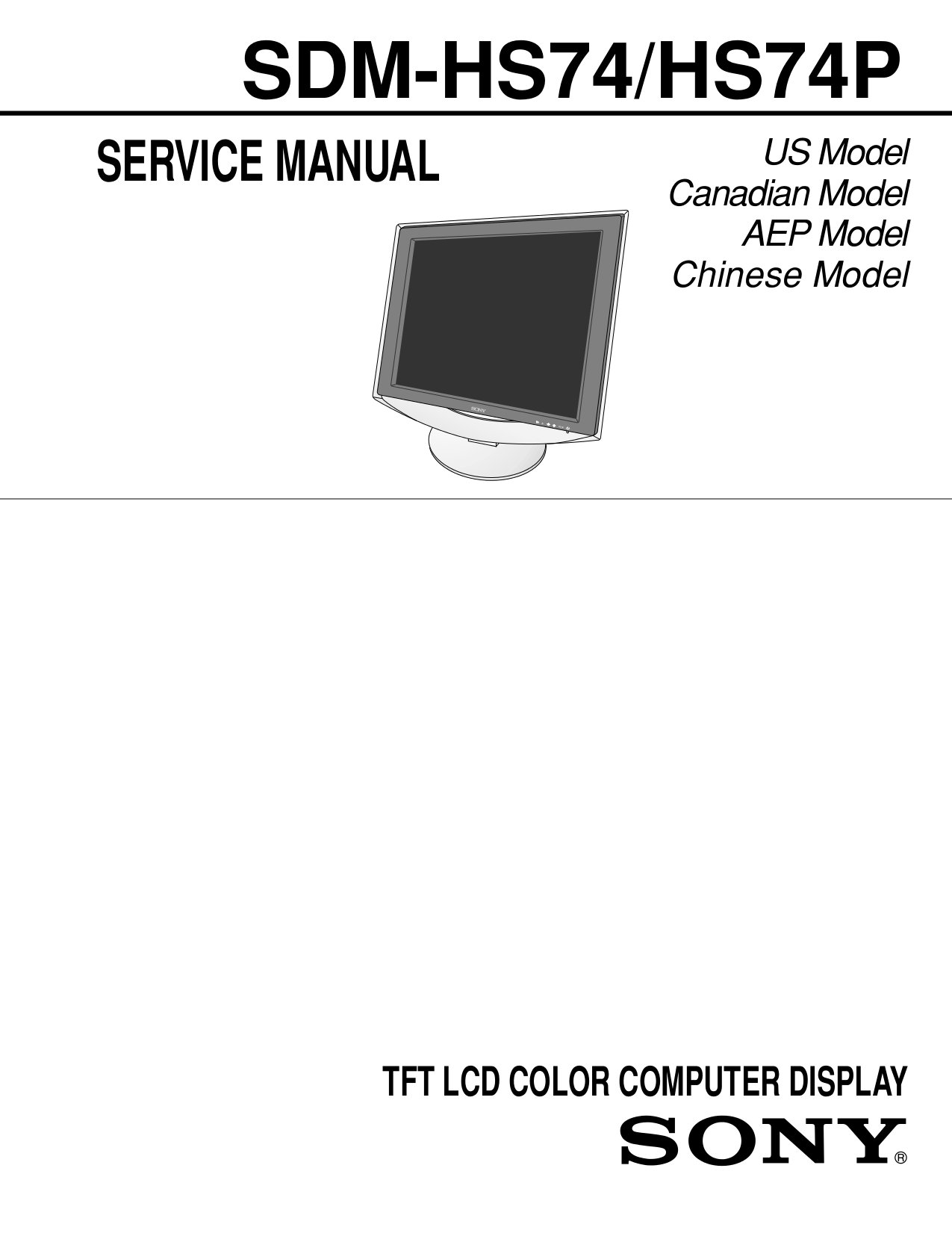 pdf for Sony Monitor SDM-HS74 manual