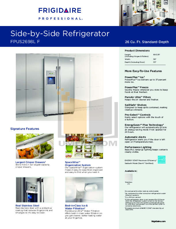 pdf for Frigidaire Refrigerator Professional FPUS2698LF manual