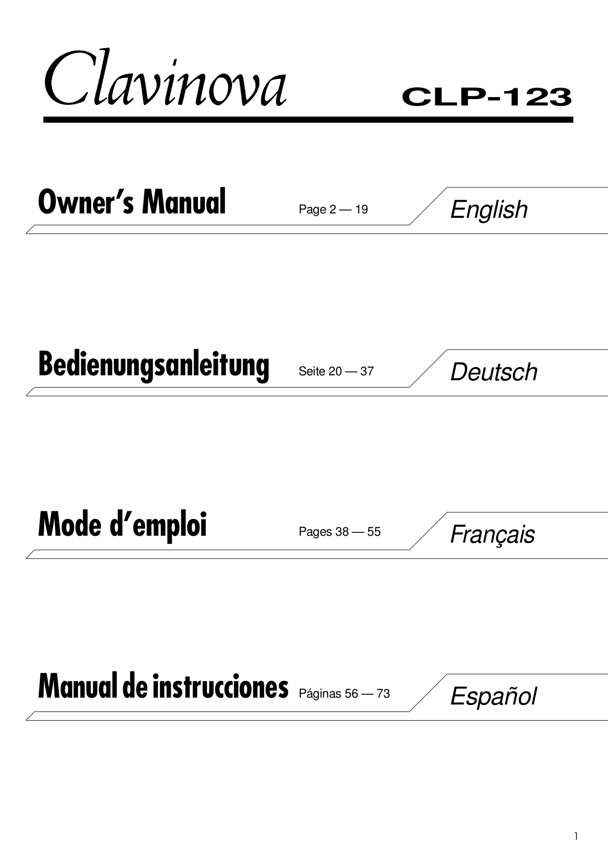 pdf for Yamaha Music Keyboard CLP-123 manual