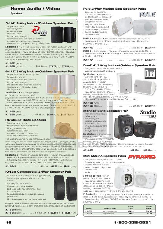 pdf for Dayton Speaker IO430 manual