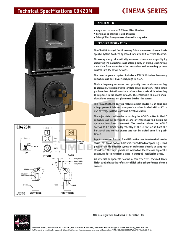 pdf for Eaw Speaker System Cinema CB423M manual