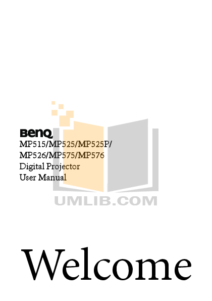 pdf for Benq Projector MP525P manual