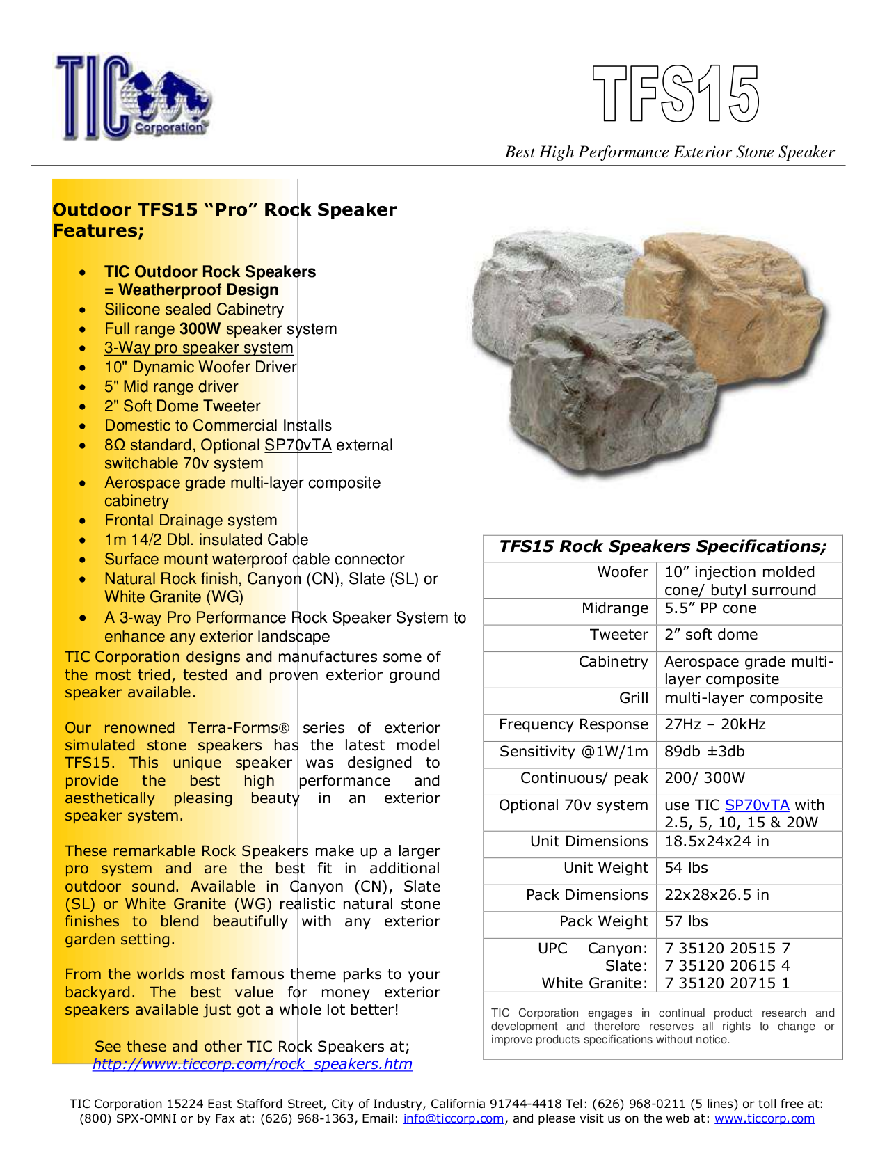 pdf for TIC Speaker TFS15 manual