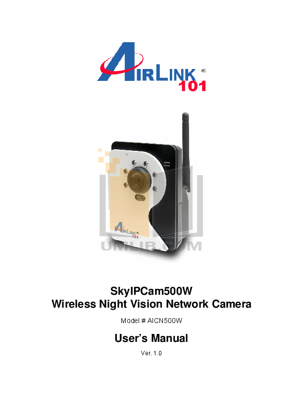 pdf for Airlink Other AICN500W Webcams manual