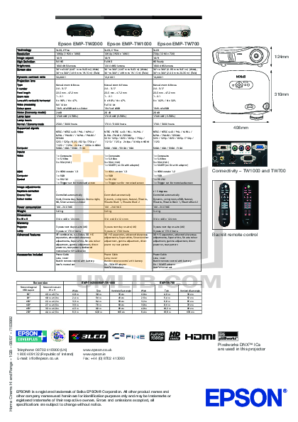 pdf for Epson Projector EMP-TW 1000 manual