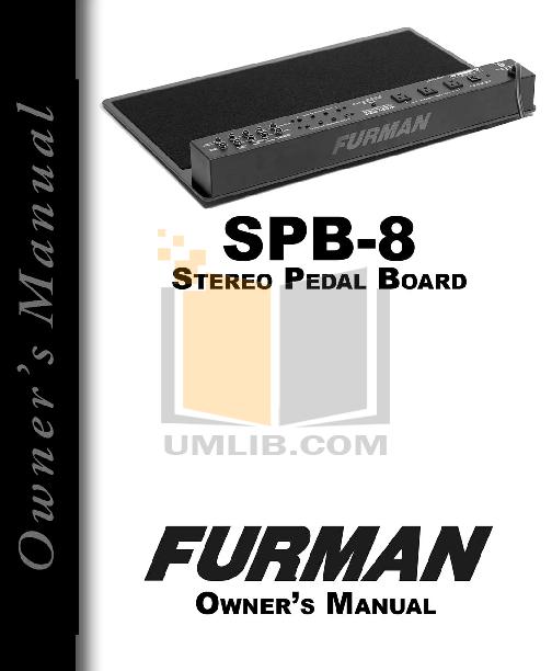 pdf for Furman Other SPB8C Pedal Board manual