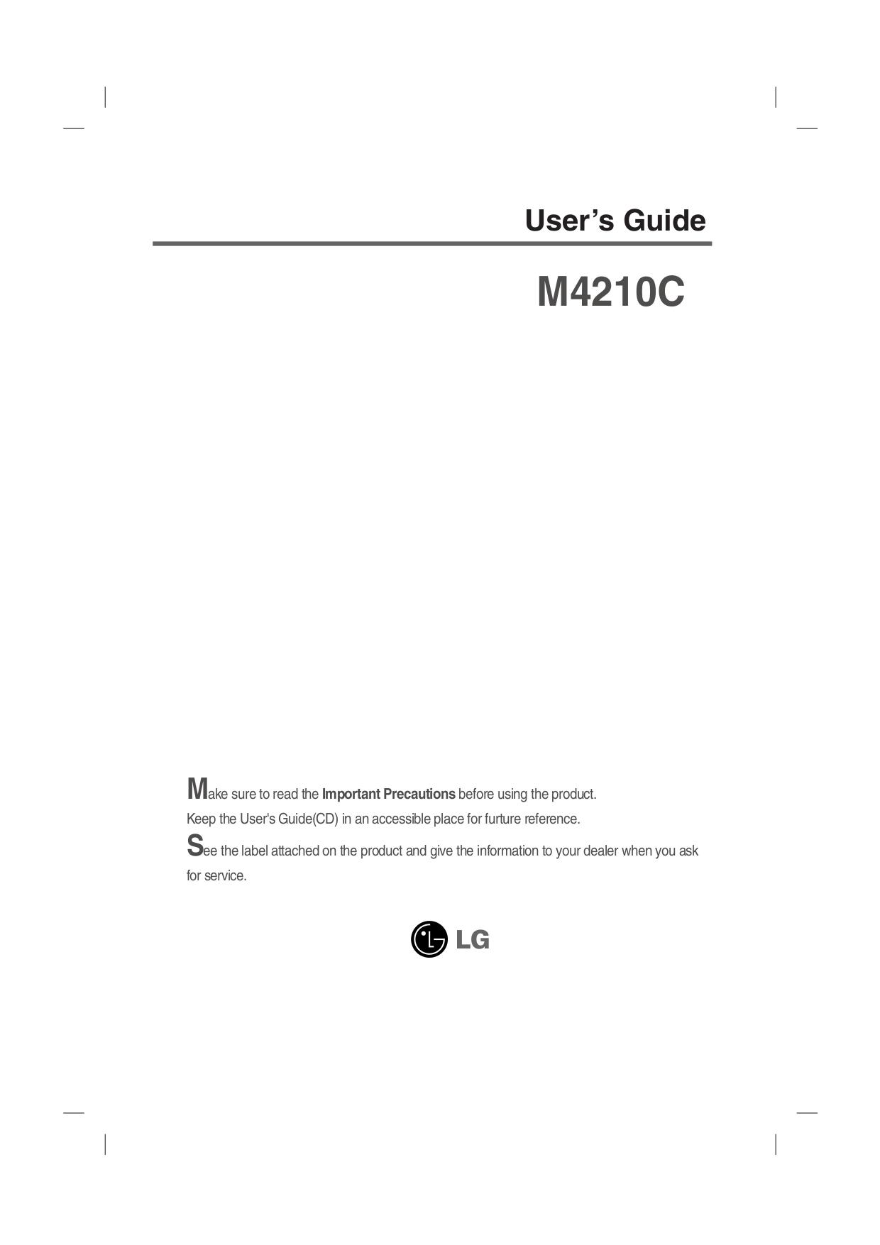 pdf for LG Monitor M4210C manual